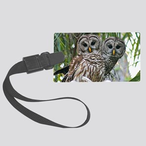 Barred Owl Pair Large Luggage Tag