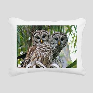 Barred Owl Pair Rectangular Canvas Pillow