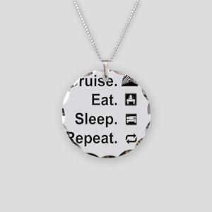 Cruise. Eat. Sleep. Necklace Circle Charm