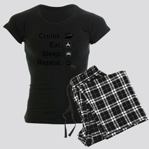 Cruise. Eat. Sleep. Women's Dark Pajamas