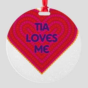Tia Loves Me Round Ornament