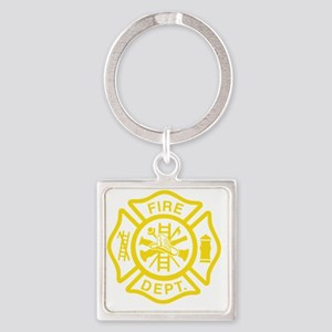 Off Duty Firefighter Square Keychain