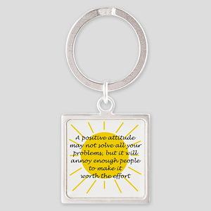 Positive Attitude Square Keychain