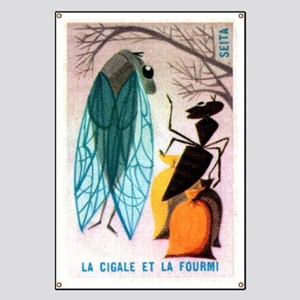 The Cicada and The Ant Matchbox French Labe Banner