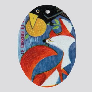 The Crow and The Fox French Matchbox Oval Ornament