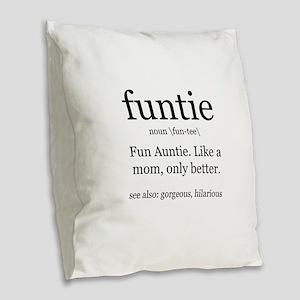 fun auntie definition Burlap Throw Pillow