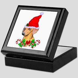Dachshund with Santa Hat Keepsake Box