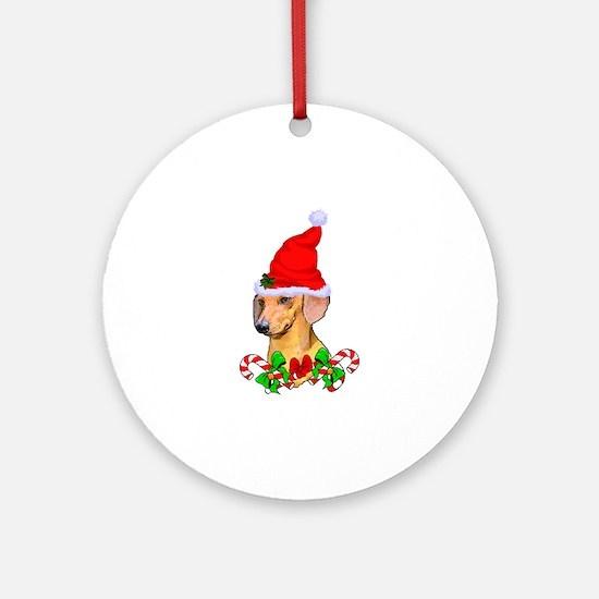 Dachshund with Santa Hat Round Ornament