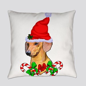 Dachshund with Santa Hat Everyday Pillow