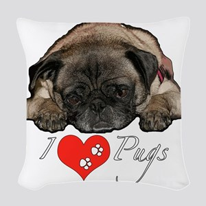 I love Pugs Woven Throw Pillow