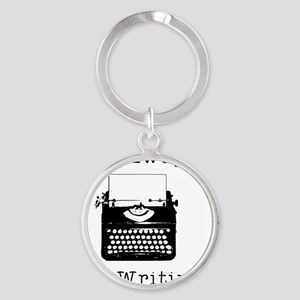 Go Away - I'm Writing Round Keychain