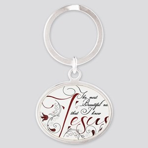 Beautiful name of Jesus Oval Keychain