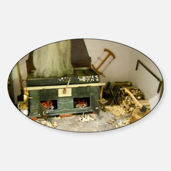 Wood Stove Room Sticker (Oval)