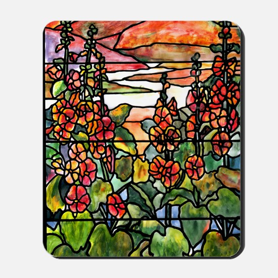 Tiffany Red Hollyhocks in Landscape Mousepad