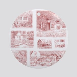 English Cottages pillow Round Ornament
