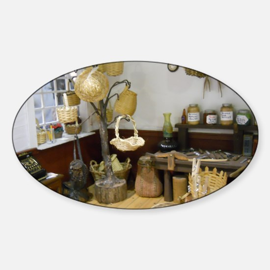 Basket Buying Doll House Room Sticker (Oval)