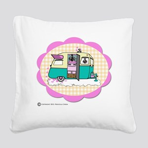 lil vintage trailer Square Canvas Pillow