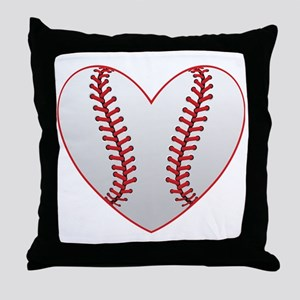 cute Baseball Heart Throw Pillow