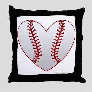 cute Baseball Heart Throw Pillow
