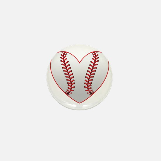 cute Baseball Heart Mini Button