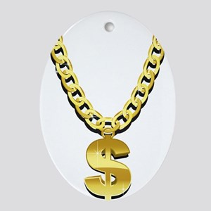 Gold Chain Oval Ornament
