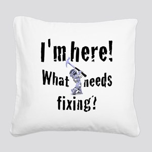robot handyman with hammer Square Canvas Pillow