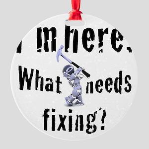 robot handyman with hammer Round Ornament