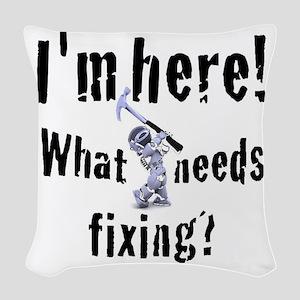 robot handyman with hammer Woven Throw Pillow