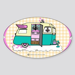 lil vintage trailer Sticker (Oval)