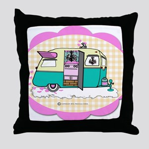 lil vintage trailer Throw Pillow