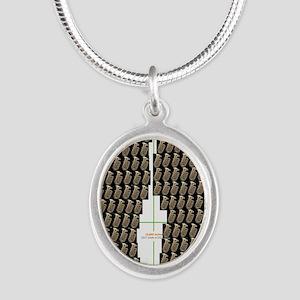 Tuba Flip Flop Silver Oval Necklace