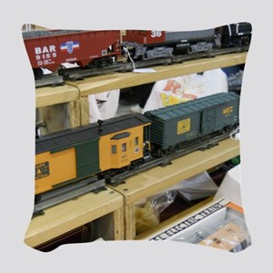 Adding Trains Woven Throw Pillow