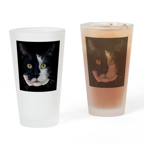 Black and White Cat Drinking Glass