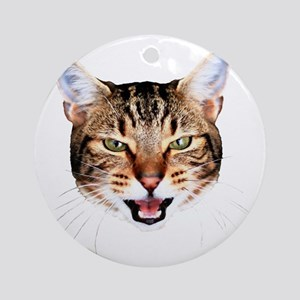 Mean Cat Face Round Ornament