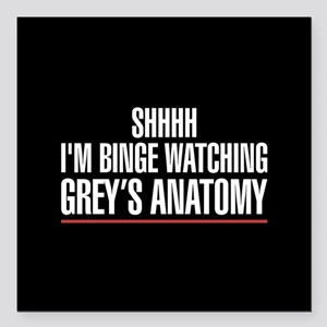 "Grey's Anatomy Binge Wat Square Car Magnet 3"" x 3"""