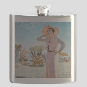 Vintage Alexander Beach Painting Flask