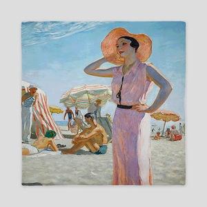 Vintage Alexander Beach Painting Queen Duvet