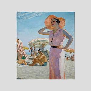 Vintage Alexander Beach Painting Throw Blanket