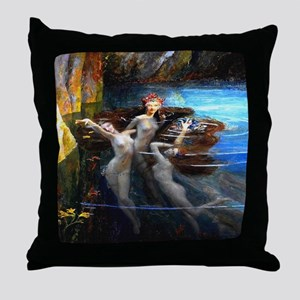 Vintage Bussiere Mermaids Throw Pillow