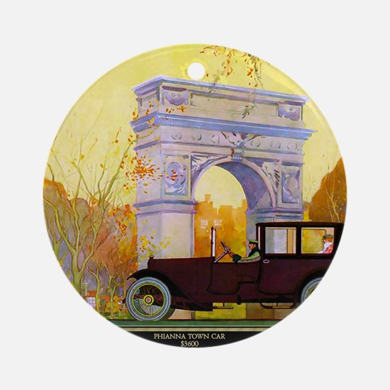 6 JUNE PHIANNA TOWN CAR Round Ornament