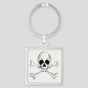 Skully Crossbone Square Keychain