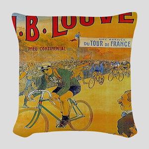 Vintage Tour de France Poster Woven Throw Pillow