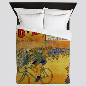 Vintage Tour de France Poster Queen Duvet