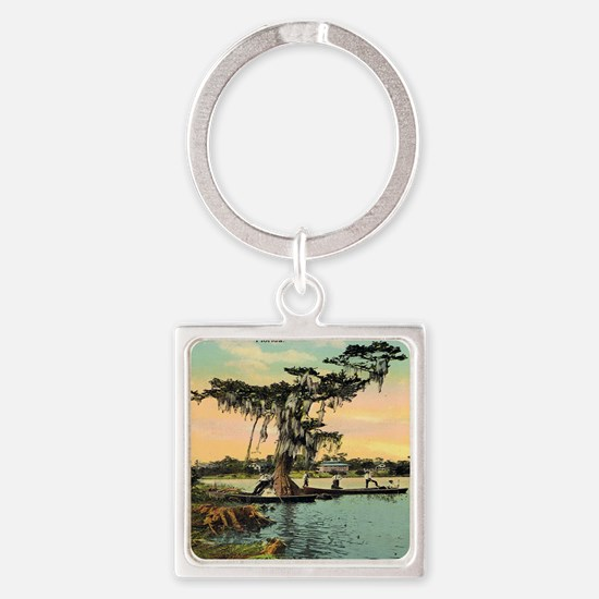 Vintage St Johns River Florida Pos Square Keychain