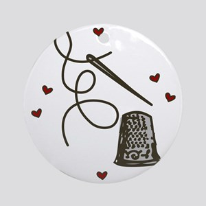 Love To Sew Round Ornament