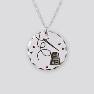 Love To Sew Necklace Circle Charm