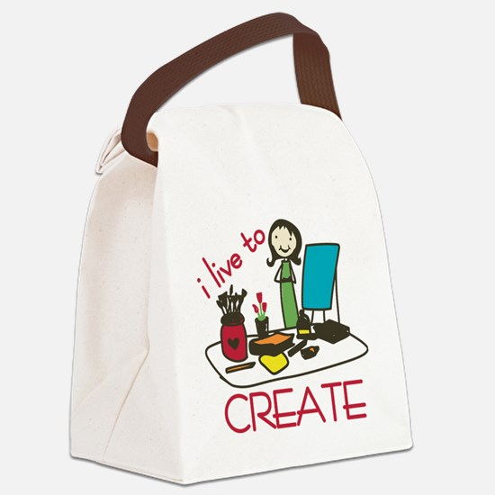 Live To Create Canvas Lunch Bag