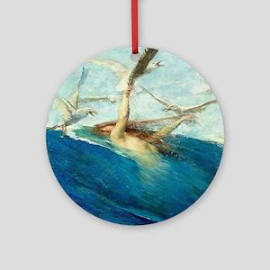 Vintage Segantini Mermaid Seagulls Round Ornament