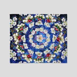 Hawthorn Rose Mandala mid Throw Blanket