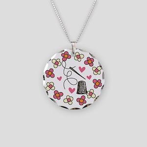 Thimble Necklace Circle Charm